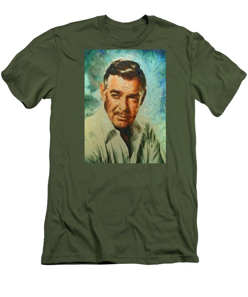 Men's T-Shirt (Slim Fit) featuring the digital art Portrait Of Clark Gable by Charmaine Zoe