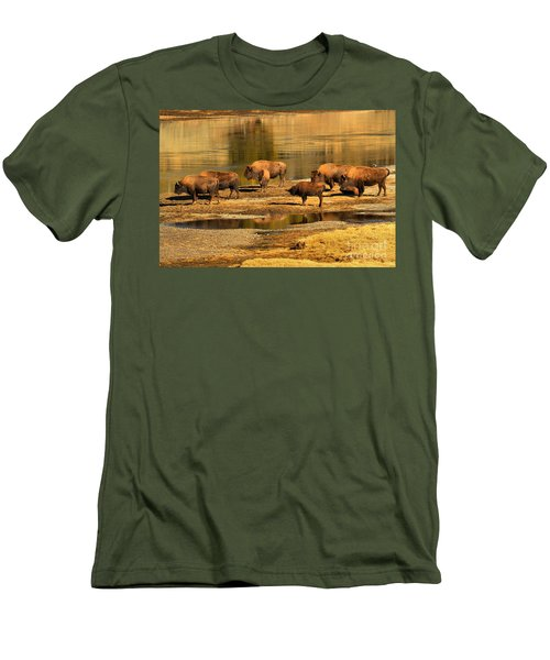 Men's T-Shirt (Slim Fit) featuring the photograph Gathering To Cross The Yellowstone River by Adam Jewell