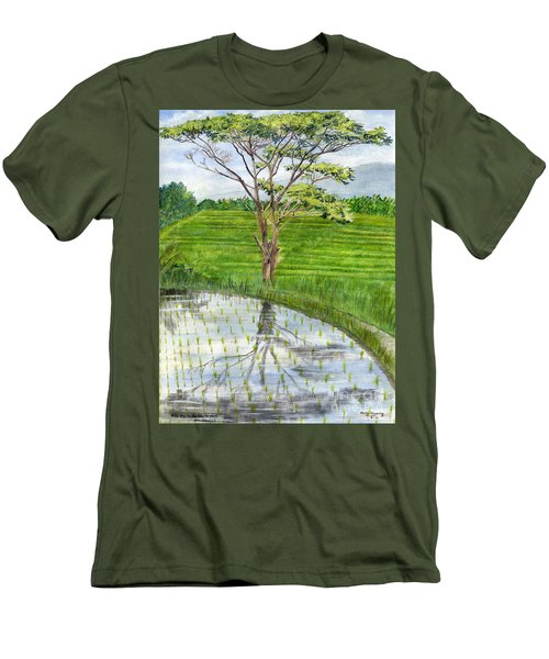 Men's T-Shirt (Slim Fit) featuring the painting Rain Tree On The Way To Ubud Bali Indonesia by Melly Terpening