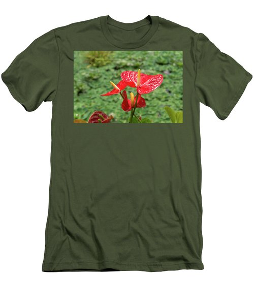 Men's T-Shirt (Slim Fit) featuring the photograph Red Anthurium Flower by Hans Engbers