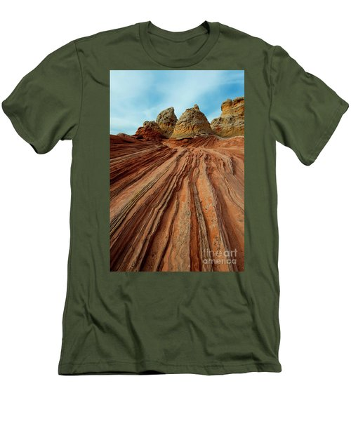 Men's T-Shirt (Slim Fit) featuring the photograph Red Desert Lines by Mike Dawson