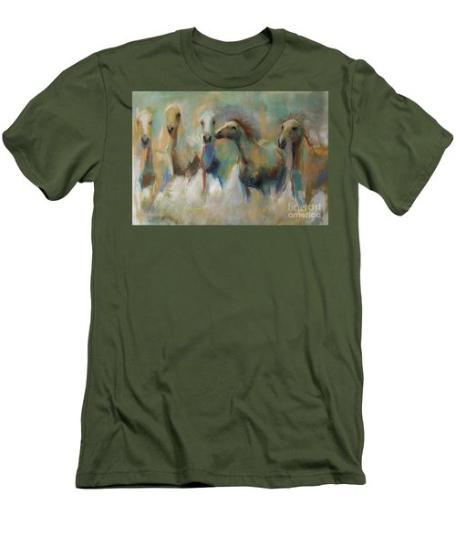 Running With The Palominos Men's T-Shirt (Slim Fit) by Frances Marino