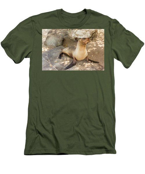 Sea Lion On The Beach, Galapagos Islands Men's T-Shirt (Slim Fit) by Marek Poplawski