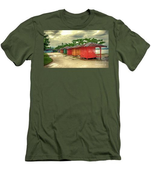 Men's T-Shirt (Slim Fit) featuring the photograph Shacks by Charuhas Images