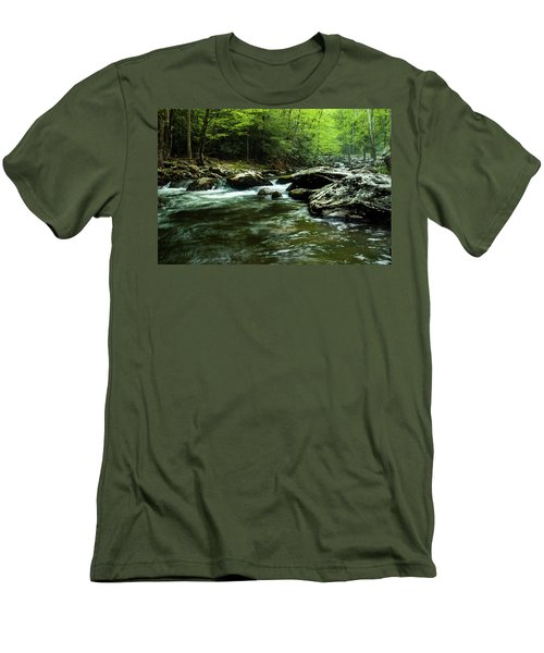 Men's T-Shirt (Slim Fit) featuring the photograph Smoky Mountain River by Jay Stockhaus