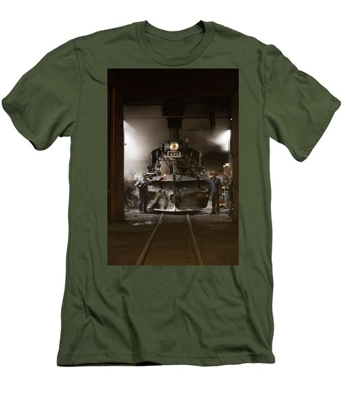Men's T-Shirt (Slim Fit) featuring the photograph Steam Locomotive In The Roundhouse Of The Durango And Silverton Narrow Gauge Railroad In Durango by Carol M Highsmith