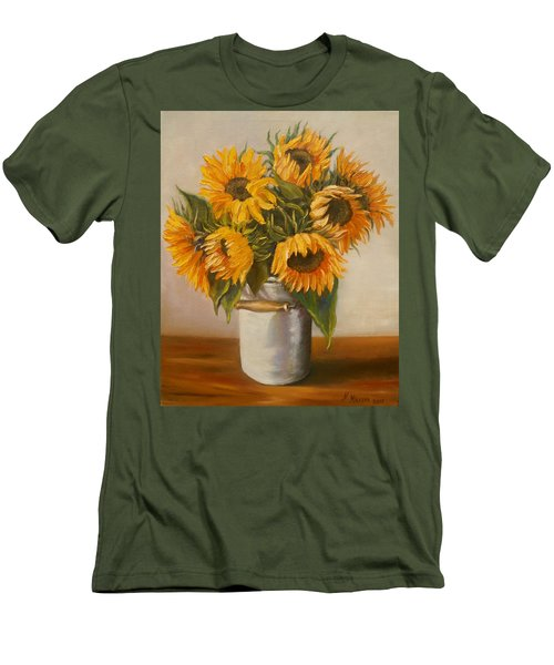 Men's T-Shirt (Slim Fit) featuring the painting Sunflowers by Nina Mitkova