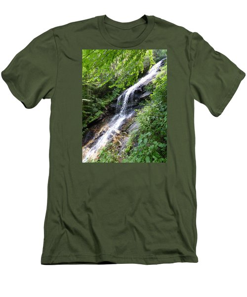 Men's T-Shirt (Slim Fit) featuring the photograph Sunlit Cascade by Joel Deutsch