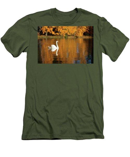 Swan On A Lake Men's T-Shirt (Slim Fit) by Teemu Tretjakov