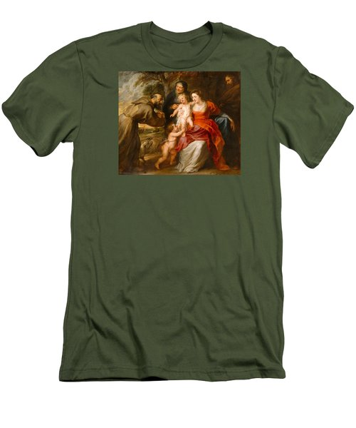 Men's T-Shirt (Slim Fit) featuring the painting The Holy Family With Saints Francis And Anne And The Infant Saint John The Baptist by Peter Paul Rubens