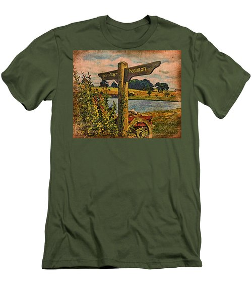 Men's T-Shirt (Slim Fit) featuring the digital art The Road To Hobbiton by Kathy Kelly