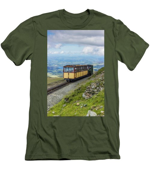 Men's T-Shirt (Slim Fit) featuring the photograph Train To Snowdon by Ian Mitchell