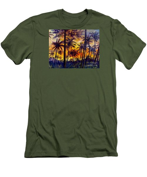 Tropical Sunset Men's T-Shirt (Slim Fit) by Lou Ann Bagnall