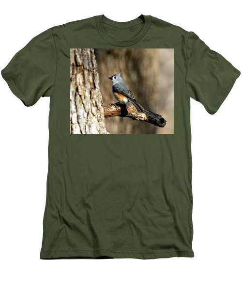 Tufted Titmouse On Branch Men's T-Shirt (Slim Fit) by Sheila Brown
