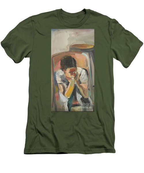 Men's T-Shirt (Slim Fit) featuring the painting Wait Child by Daun Soden-Greene