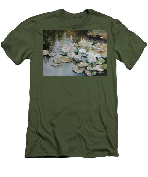 Men's T-Shirt (Slim Fit) featuring the painting Waterlilies by Elena Oleniuc