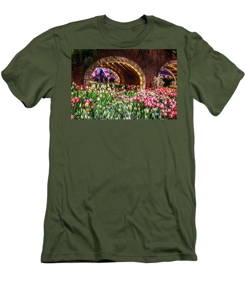 Welcoming Tulips Men's T-Shirt (Slim Fit) by Sandy Moulder