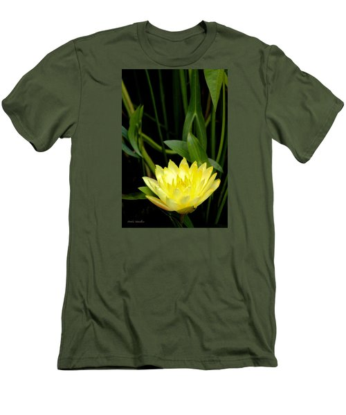 Men's T-Shirt (Slim Fit) featuring the photograph Yellow Lotus by Debra     Vatalaro