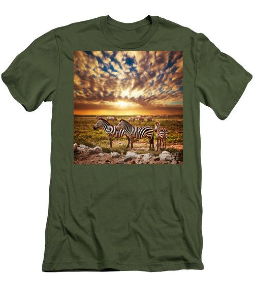 Zebras Herd On African Savanna At Sunset. Men's T-Shirt (Athletic Fit)
