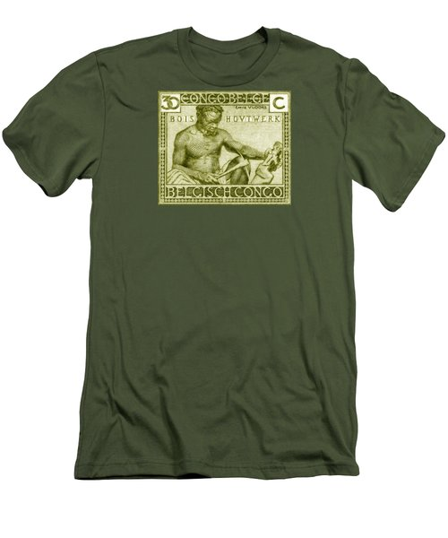 Men's T-Shirt (Slim Fit) featuring the painting 1925 Belgian Congo Native Woodcarving by Historic Image