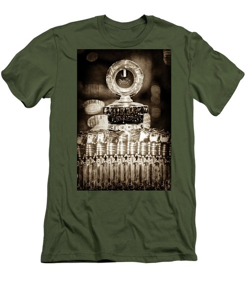 Men's T-Shirt (Slim Fit) featuring the photograph 1928 Daimler Hood Ornament - Moto Meter -0616s by Jill Reger