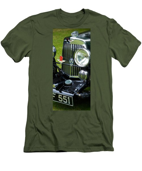Men's T-Shirt (Slim Fit) featuring the photograph 1930s Aston Martin Front Grille Detail by John Colley