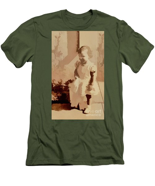 Men's T-Shirt (Slim Fit) featuring the photograph 1940s Little Girl by Linda Phelps