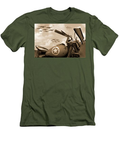 Men's T-Shirt (Slim Fit) featuring the photograph 1942 Indian 841 - B-17 Flying Fortress - H by Mike McGlothlen