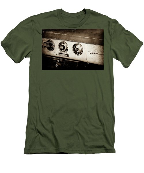 Men's T-Shirt (Slim Fit) featuring the photograph 1955 Ford Fairlane Dashboard Emblem -0444s by Jill Reger