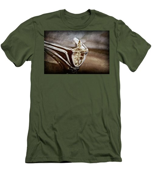 Men's T-Shirt (Slim Fit) featuring the photograph 1956 Lincoln Premiere Convertible Hood Ornament -2797ac by Jill Reger