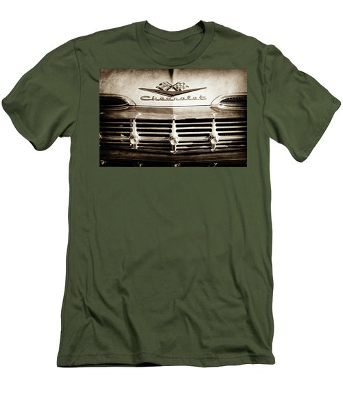 Men's T-Shirt (Slim Fit) featuring the photograph 1959 Chevrolet Impala Grille Emblem -1014s by Jill Reger