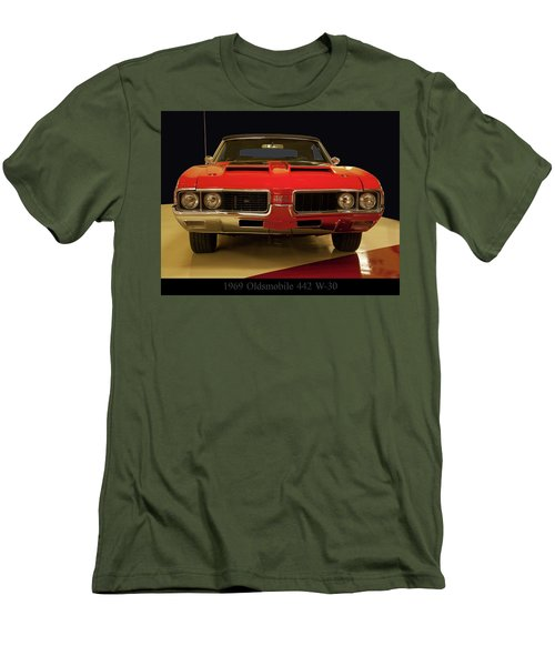 Men's T-Shirt (Slim Fit) featuring the photograph 1969 Oldsmobile 442 W-30 by Chris Flees