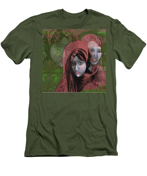 Men's T-Shirt (Slim Fit) featuring the digital art 1974 - Women In Rosecoloured Clothes - 2017 by Irmgard Schoendorf Welch