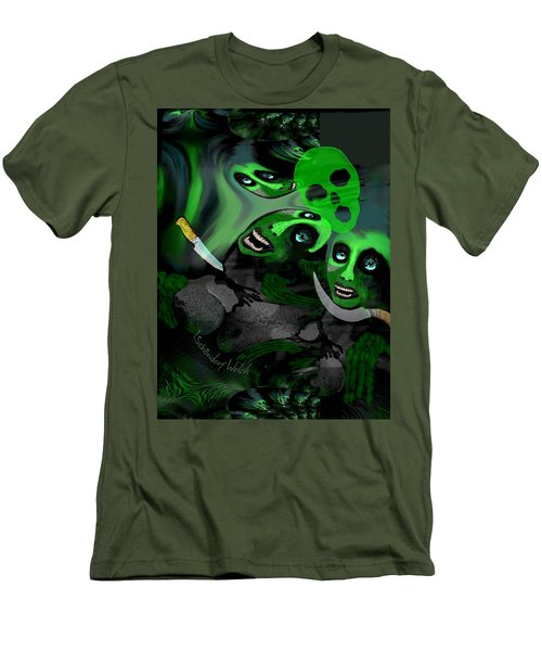 Men's T-Shirt (Slim Fit) featuring the digital art  1982 Violence And Fear 2017 by Irmgard Schoendorf Welch