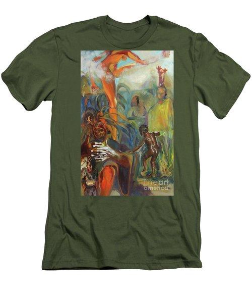 Men's T-Shirt (Slim Fit) featuring the mixed media Ancestor Dance by Daun Soden-Greene