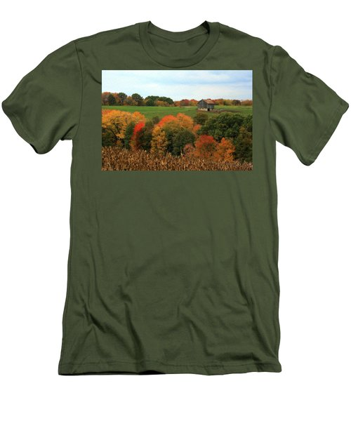 Men's T-Shirt (Slim Fit) featuring the photograph Barn On Autumn Hillside by Angela Rath