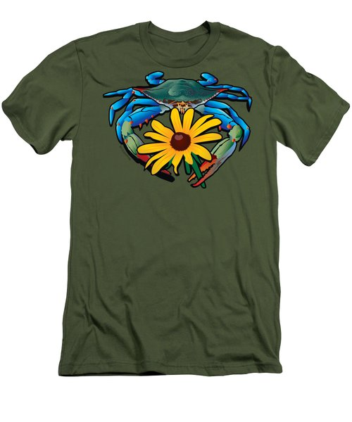 Blue Crab Maryland Black-eyed Susan Men's T-Shirt (Athletic Fit)