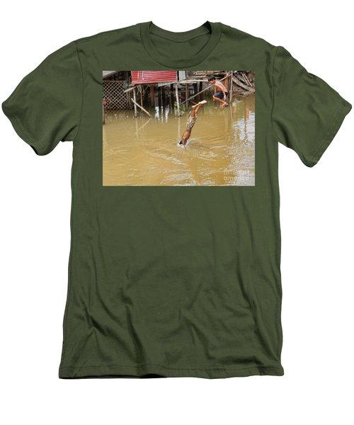 2 Cambodian Boys Dive Color Men's T-Shirt (Slim Fit) by Chuck Kuhn