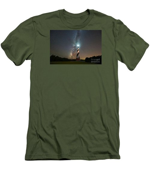 Cape Hatteras Lighthouse Milky Way Men's T-Shirt (Slim Fit) by Michael Ver Sprill