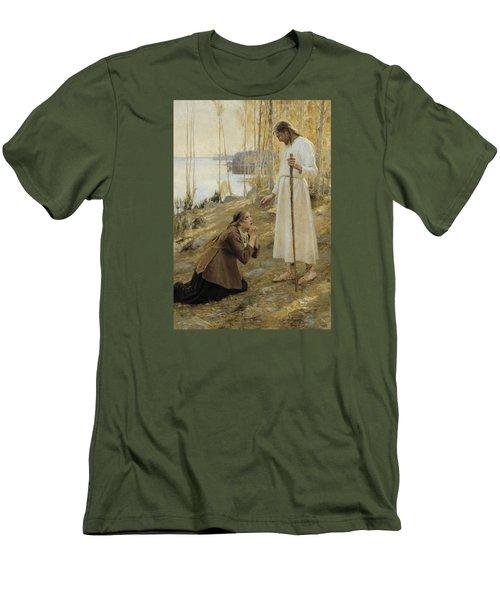 Christ And Mary Magdalene Men's T-Shirt (Slim Fit) by Albert Edelfelt