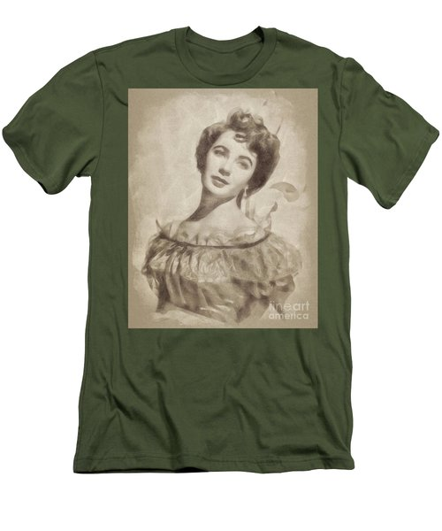 Elizabeth Taylor, Vintage Hollywood Legend By John Springfield Men's T-Shirt (Slim Fit) by John Springfield