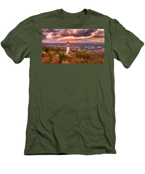 Men's T-Shirt (Slim Fit) featuring the photograph Heublein Tower, Simsbury Connecticut, Cloudy Sunset by Petr Hejl