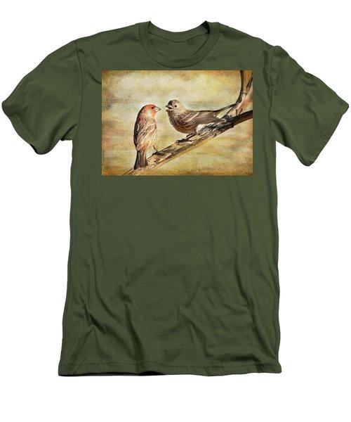 2 Little Love Birds Men's T-Shirt (Slim Fit) by Barbara Manis