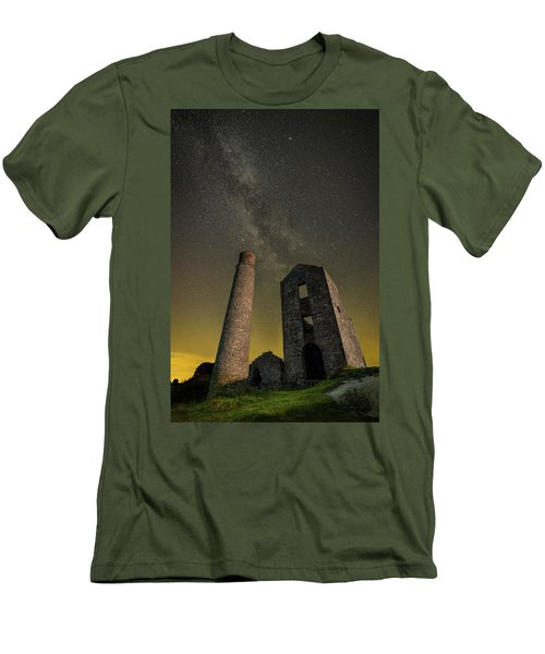 Milky Way Over Old Mine Buildings. Men's T-Shirt (Athletic Fit)