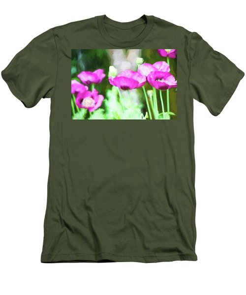 Men's T-Shirt (Slim Fit) featuring the painting Poppies by Bonnie Bruno
