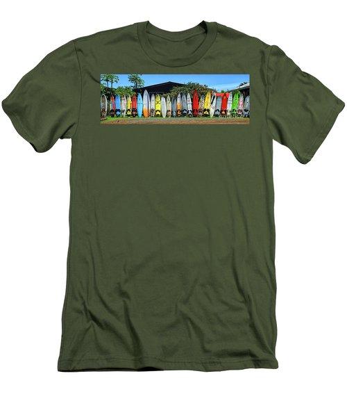 Surfboard Fence Maui Hawaii Men's T-Shirt (Slim Fit) by Peter Dang