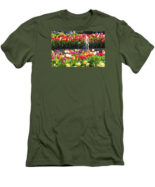 Tulip Festival Men's T-Shirt (Slim Fit) by Bev Conover