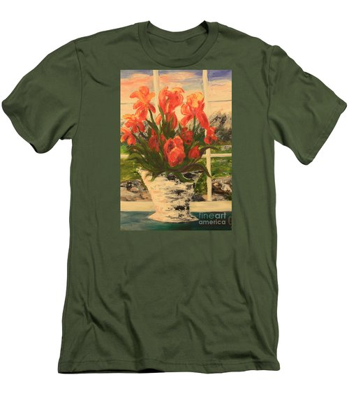 Men's T-Shirt (Slim Fit) featuring the painting Tulips by Nancy Czejkowski