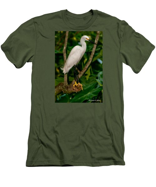 Men's T-Shirt (Slim Fit) featuring the photograph White Egret by Christopher Holmes