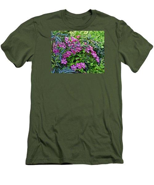 2015 Summer At The Garden Beautiful Clematis Men's T-Shirt (Slim Fit) by Janis Nussbaum Senungetuk